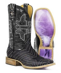 Look at this #zulilyfind! Black Neon Star Leather Cowboy Boot #zulilyfinds