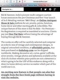 Bid & Hammer Launches E-Retail Venture B&H SHOP