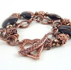 Black Copper Bracelet Glass Heart Clasp Chain