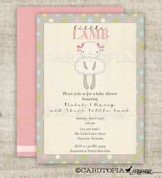 Lamb GIRL BABY Shower Invitations Vintage by Cardtopia Company Little Lamb Baby Shower Birthday Party