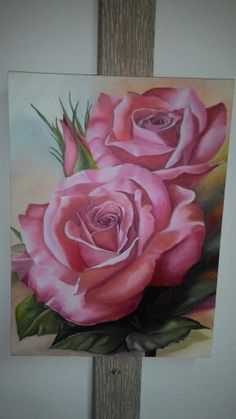 Art Floral, Flower Art Drawing, Painting & Drawing, Acrylic Canvas, Canvas Art, Watercolor Flowers, Watercolor Paintings, Rose Art, Pastel Art