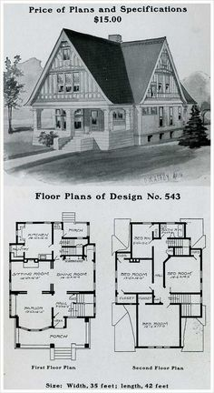 """1903 Radford American Homes. Only one bathroom for a 4 bedroom house! Also note the area just outside the kitchen for the literal """"ice box""""."""
