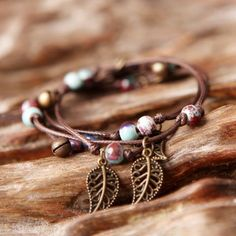 Leafs Long Bracelet Charm Jewelry Charm Jewelry Outfit Accessories From Touchy Style Bracelets With Meaning, Cute Bracelets, Gemstone Bracelets, Bracelets For Men, Handmade Bracelets, Vintage Charm Bracelet, Charm Jewelry, Teenager Fashion Trends, Jewelry Trends 2018