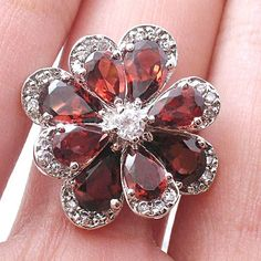 free shipping new arrival  natural garnet / peridot &925 sterling silver flower ring wholesale/retail $47.37