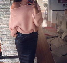 Sweater with leather pencil skirt.