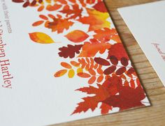 Feeling Autumnal with these vibrant leaves   #invitation #wedding #watercolour #leaves Autumn | Paperock and Scissors