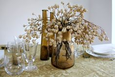 Batik Ocre - Urrea Mantelerias Glass Vase, Home Decor, Wedding Decoration, Floral Design, Decoration Home, Room Decor, Interior Decorating