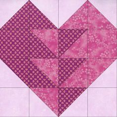 This is one of the most beautiful heart quilt blocks you can make for a quilt and it uses two color prints. Pink circle print, pink floral tonal and lily mottled background. You can make a nice quilt Patchwork Patterns, Quilt Block Patterns, Pattern Blocks, Quilt Blocks, Mini Quilts, Small Quilts, Half Square Triangle Quilts, Square Quilt, Quilting Projects
