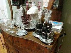 Our bar. Antique silver and cut glass decanters