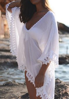 Fantastic White Kaftan Cover Up