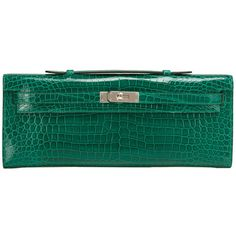 Pre-owned Hermes Emerald Shiny Porosus Crocodile Kelly Cut ($37,500) ❤ liked on Polyvore featuring bags, handbags, clutches, handbags and purses, green handbags, pre owned purses, hermes purse, handle purse and croc embossed leather handbags