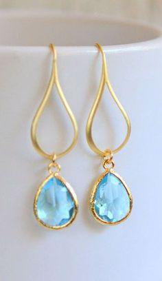 Gold Aquamarine Drop Earrings