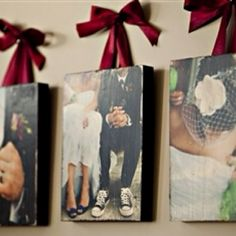 Save your favorite wedding photos on canvas, hang with ribbon. <3