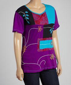 Look what I found on #zulily! Purple & Teal Patchwork Tee - Plus #zulilyfinds