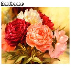 AMLHOME 5D DIY Diamond Painting Pink Peony Embroidery Diamond Painting Cross Stitch Floral Rhinestone Mosaic Painting HC0250 dining room <3 AliExpress Affiliate's Pin. Click the VISIT button to view the details