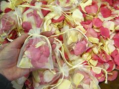 Gorgeous confetti petal bags! Blushing Pink, Bright Pink and Cream Small Natural Rose Petals (£1.99 each)