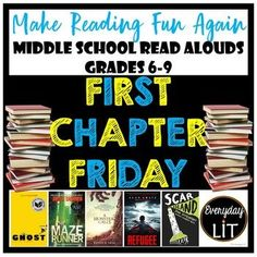 Read Alouds for Middle School by Everyday Lit Middle School Novels, Middle School Libraries, Middle School Teachers, High School Reading, 6th Grade Reading, Importance Of Reading, Reading Adventure, Book Prompts, Kindergarten Books