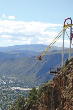 There's a swing at the edge of a canyon, above Colorado river. Located on the edge of a canyon, feet above the Colorado River, the Giant Canyon Swing at Glenwood Caverns Adventure Park is definitely not for faint hearted. That looks like SO much fun! Glenwood Springs Colorado, Glenwood Canyon, Colorado River, Colorado Trip, Denver City, City Pages, Vacation Trips, Vacation Ideas, Vacations