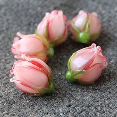 Handmade Flower Lampwork Beads  Pink Rose by JewelryBeadsByKatie
