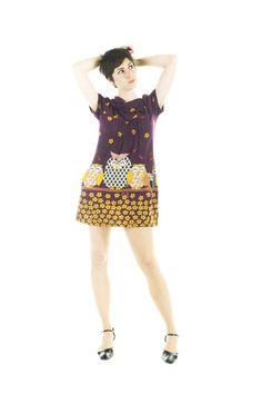 dress sixties HAPPY OWL vintage dark purple