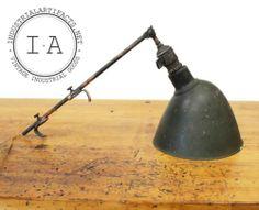 Vintage Industrial Faries Japanned Desk Lamp Holophane D'Olier O C White Era   eBay