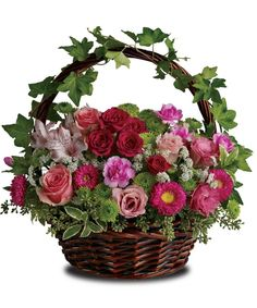 Best Florist in Miami & Hialeah - Flowers & Chocolates - Balloons - New Born - Anniversary Flowers - Sympathy Floral Arrangements - Delivery of Flowers near me Basket Flower Arrangements, Floral Arrangements, Silk Flowers, Spring Flowers, Fresh Flowers, Buy Flowers, Spring Blooms, Garden Basket, Victorian Flowers