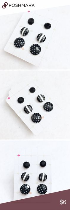 3 pack of black studs by Jules Jewelry Box 3 pack of black studs all handcrafted by Jules Jewelry Box.  6mm plain black studs.  8mm black and white stripes.  14mm black and white polka dot studs.  All handcrafted by Jules Jewelry Box. 🖤🖤🖤 Jules Jewelry Box Jewelry Earrings