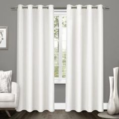 Exclusive Home Curtains Tweed Textured Linen Blackout Window Curtain Panel Pair with Grommet Top, Winter White, 2 Piece Home Curtains, Blackout Curtains, Window Curtains, Curtain Panels, Curtains Kohls, Blackout Panels, Curtain Room, Farmhouse Curtains, Home