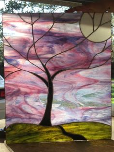 Winter tree Stained glass piece I did for fun! Needs a new home 😊 19 x 22 Stained Glass Lamps, Stained Glass Designs, Stained Glass Panels, Stained Glass Projects, Fused Glass Art, Stained Glass Patterns, Leaded Glass, Mosaic Glass, Window Glass