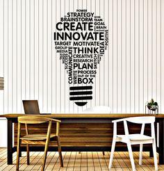 Vinyl Wall Decal Lightbulb Inspire Words Business Office Art Decor Sti – Wallstickers4you