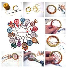 dream catcher tutorial - this one starts with crochet around the ring. Diy And Crafts, Crafts For Kids, Arts And Crafts, Dream Catchers, Diy Projects To Try, Art Projects, Los Dreamcatchers, Dream Catcher Tutorial, Diy Keychain