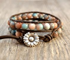 Rustic beaded wrap bracelet by SinonaDesign