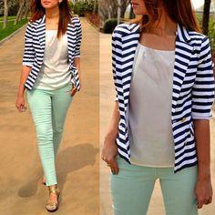 패션 스타일 재킷 여성 스트라이프 컬러 재킷 정장 슬림 야드 여성 블레이저스 작업 재킷