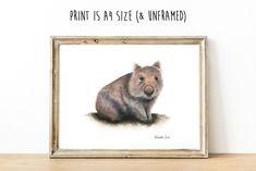 Wombat Pictures, Baby Wombat, Artwork Prints, Fine Art Prints, Australian Animals, Watercolour Art, Cockatoo, Types Of Art, Giclee Print