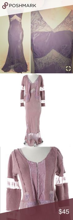 Vintage 30s 40s Velvet Slip Maxi Dress Sz M Vintage 30s 40s style velvet and chiffon Slip maxi dress and matching jacket/cardigan Sz M has gorgeous lace detailing. Lavender color Steffi Dobrindt Dresses Maxi