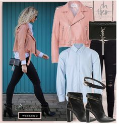 """""""Blogger style: Pink Bike Jacker& Black Jeans&Blue Shirt&Boots&Leather bag"""" by hamaly on Polyvore"""