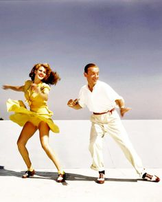 Rita Hayworth and Fred Astaire practicing a routine for You Were Never Lovelier.