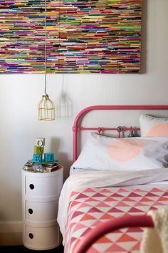 style and focus.com.au Spray a vintage children's bed with a strong colour.