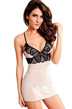 Sexy Damen Quer Backless Riemen V-Ausschnitt Transparent Pyjamas Rock (one size, as shown)