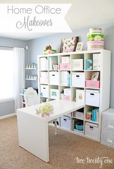 DIY:: Beautiful Shabby Chic Home Office / Craft Room Makeover !