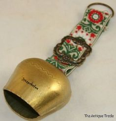 Vintage large Austrian cow bell on stitched strap  Our Price: £35.00