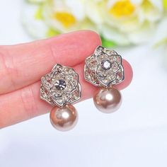 Crystal Flower Pearl Drop Earrings Classic Earrings for Women and Bridal Pearl Drop Earrings, Bridal Earrings, Flower Earrings, Women's Earrings, Diamond Earrings, Bridal Crown, Crystal Flower, Pearl Color, Champagne