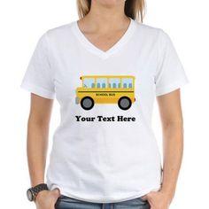 Cafepress Personalized School Bus Women's V-Neck T-Shirt, Size: 2XLarge (+$3.00), White