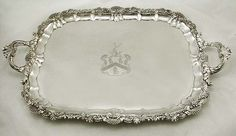 English Sterling Silver Tea Tray Stag & Dragon Coat of Arms 1820 90oz