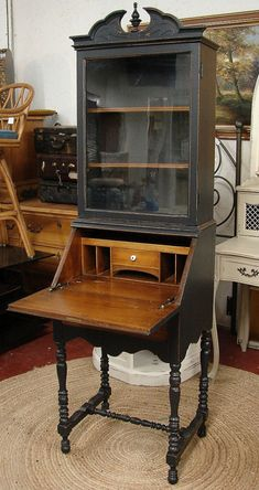 Reclaimed Vintage Black Painted Highboy Small Secretary Desk Bookcase Cabinet (CALL for a SHIP Quote)