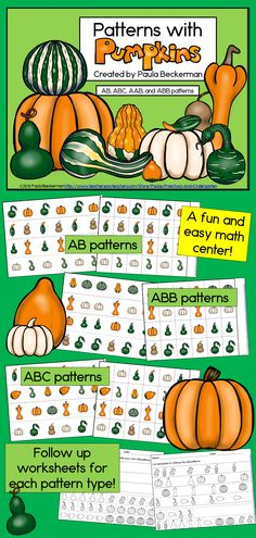 Look at all the different pumpkins - so many colors, shapes and sizes! Your students will be fascinated with the variety of gourds as they practice Patterns with Pumpkins. There are AB, ABC, AAB and ABB pattern strips, plus pieces to extend the patterns - just right for math centers or activities for early finishers! There are also fill in the blank pages for each type of pattern, mixed patterns, and pages for students to create their own patterns to demonstrate understanding. TpT $