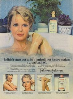 1976 Ad Johnson's Baby Oil Woman Bathing Bathtub Soft Silky~ORIGINAL ADVERTISING very popular stuff to use in high school