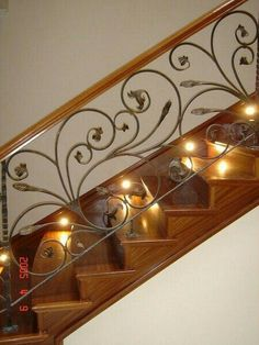 Staircase Railing Design, Wrought Iron Staircase, Balcony Railing Design, Iron Stair Railing, Home Stairs Design, Wrought Iron Decor, House Gate Design, Home Room Design, Modern Staircase