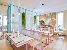 A Restaurant In Paris That Serves Tasty Burgers And Colorful Interiors