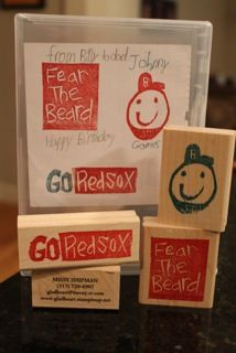I found this on stampinup.com Hand carved rubber stamps lovingly made by a Red Sox fan!